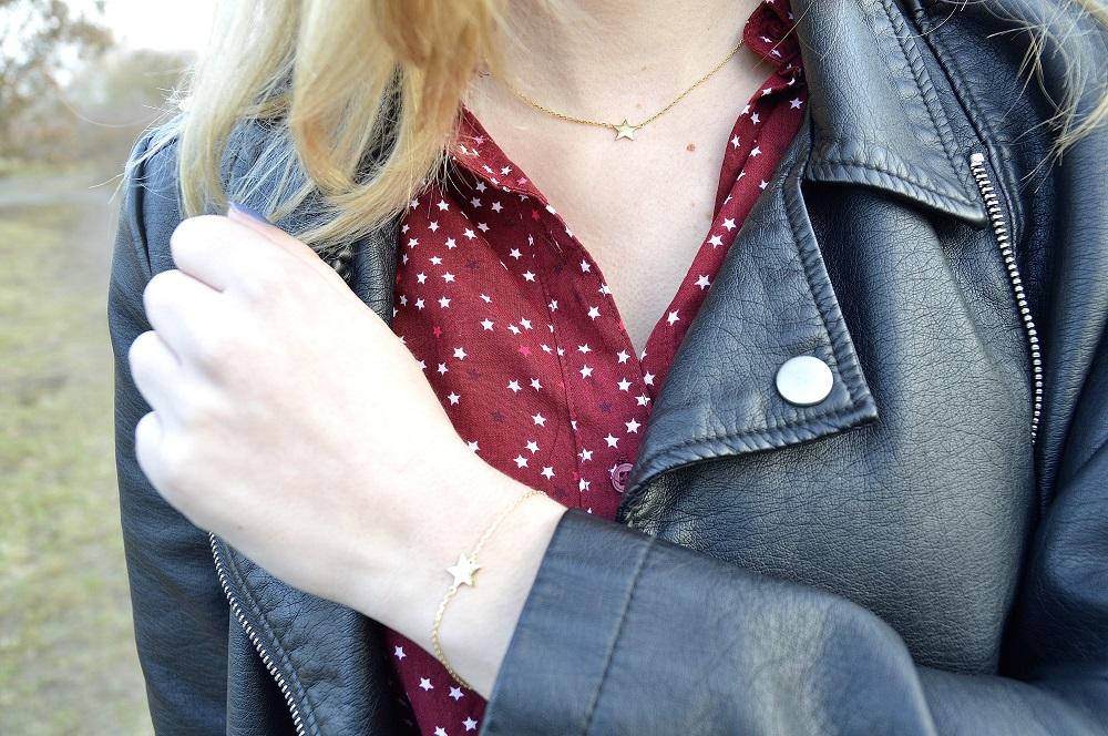 Outfit: ik zie sterretjes blouse met leren jasje Girls Things