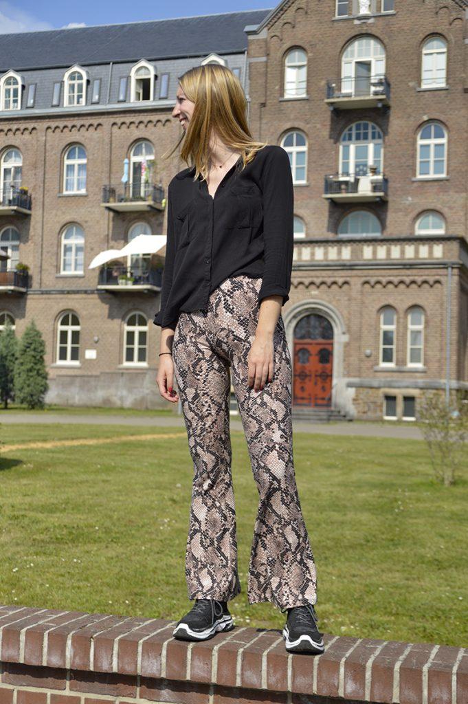 snake print flared pants